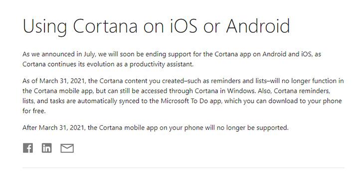 Microsoft cho trợ lý ảo Cortana trên iOS và Android nghỉ hưu