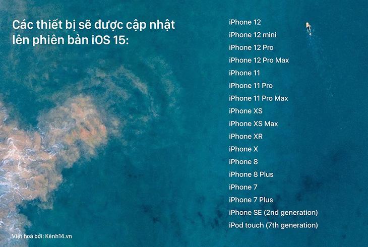 Danh sách các thiết bị sẽ được cập nhật iOS 15
