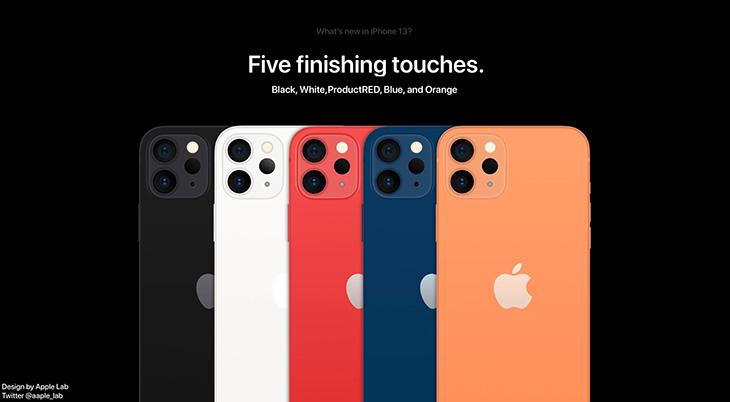 iPhone 13 dự kiến sẽ sở hữu tổng cộng 5 phối màu khác nhau, bao gồm: Đen, Trắng, Đỏ, Xanh dương và Cam