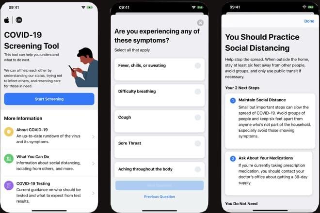 Apple COVID-19 Screening Tool là công cụ sàng lọc đơn giản giúp kiểm tra các triệu chứng và khả năng tiếp xúc với người nhiễm bệnh. Ảnh: Makeuseof.