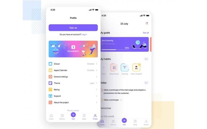 Task planner iOS app