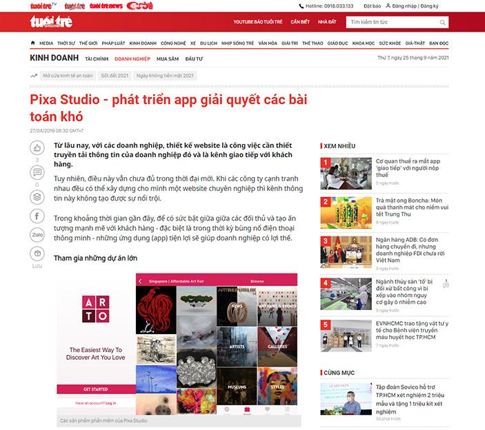 PIXA Studio trên Báo Tuổi Trẻ